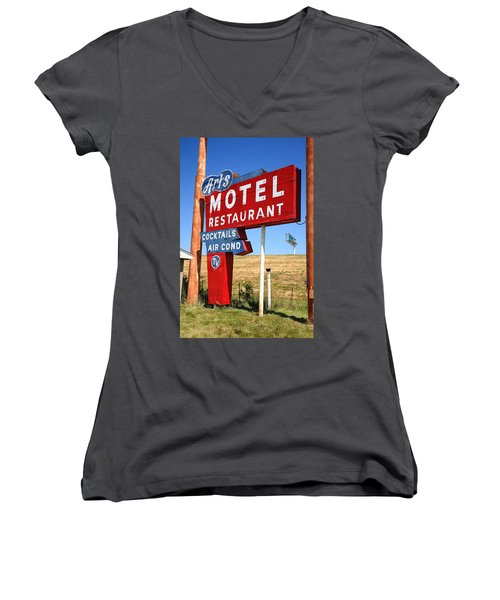 Route 66 - Art's Motel Women's V-Neck (Athletic Fit)
