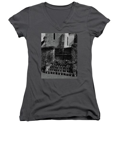 Rows Of Pot Plants Lined On The Steps Of A Garden Women's V-Neck