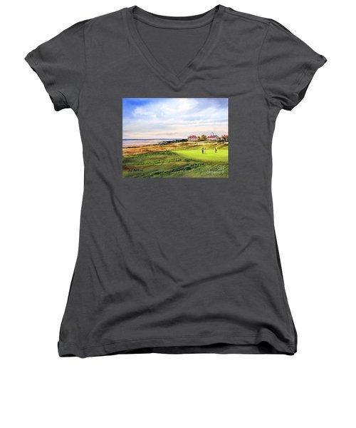 Royal Liverpool Golf Course Hoylake Women's V-Neck T-Shirt (Junior Cut) by Bill Holkham