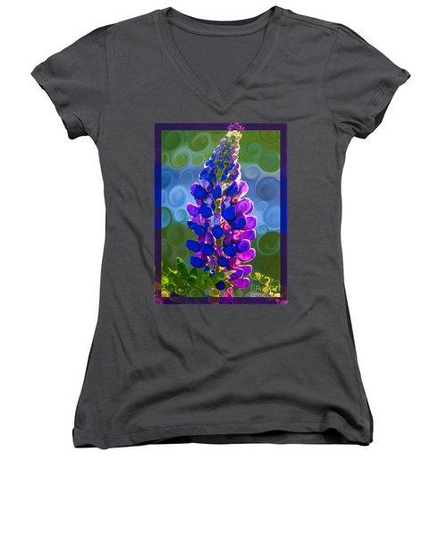 Royal Purple Lupine Flower Abstract Art Women's V-Neck