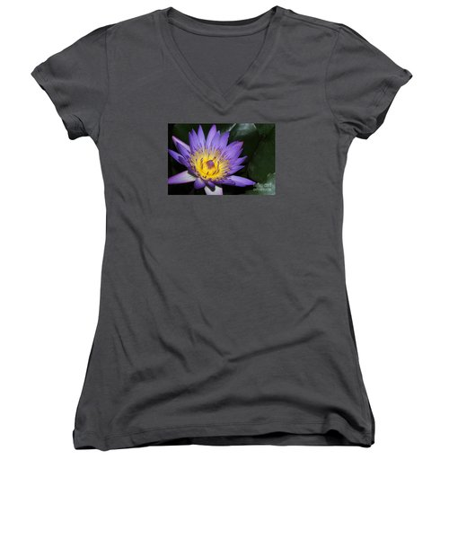 Royal Purple Water Lily #6 Women's V-Neck (Athletic Fit)