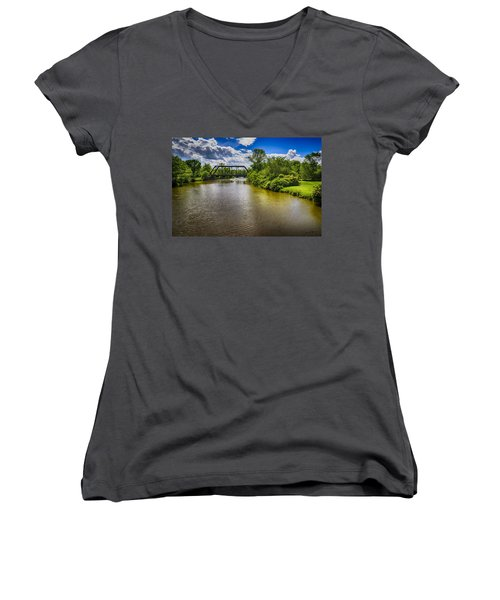 Women's V-Neck T-Shirt (Junior Cut) featuring the photograph Royal River by Mark Myhaver