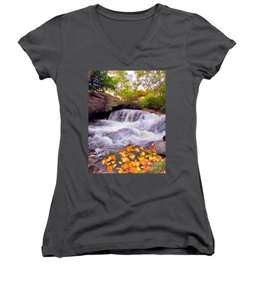 Royal River White Waterfall Women's V-Neck T-Shirt (Junior Cut) by Elizabeth Dow