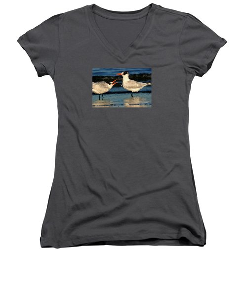 Women's V-Neck T-Shirt (Junior Cut) featuring the photograph Royal Tern Courtship Dance by John F Tsumas
