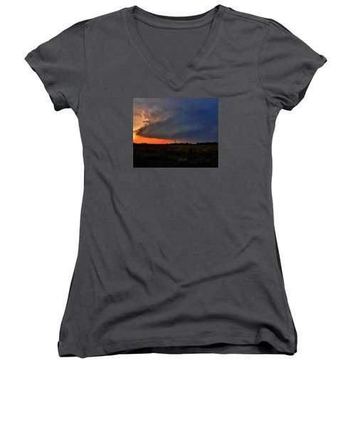 Rozel Tornado Women's V-Neck T-Shirt (Junior Cut) by Ed Sweeney