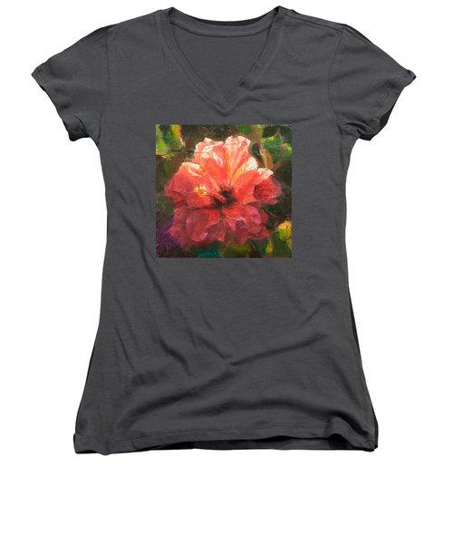 Ruffled Light Double Hibiscus Flower Women's V-Neck