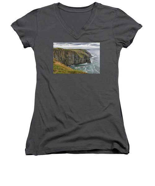 Women's V-Neck T-Shirt (Junior Cut) featuring the photograph Rugged Landscape by Eunice Gibb