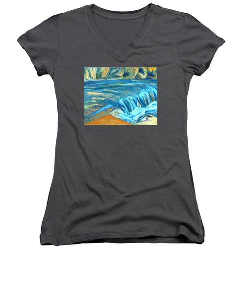 Run River Run Over Rocks In The Sun Women's V-Neck T-Shirt (Junior Cut)