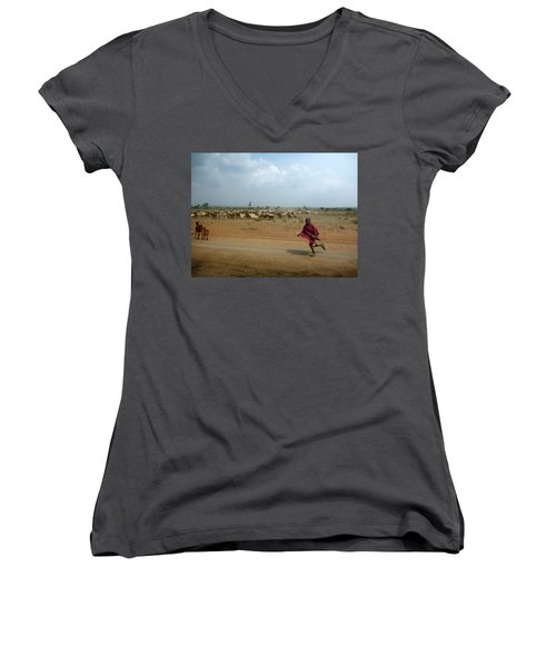 Running Boy Women's V-Neck T-Shirt (Junior Cut) by Debi Demetrion