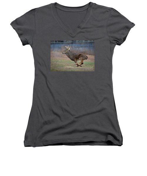 Running Buck Women's V-Neck T-Shirt
