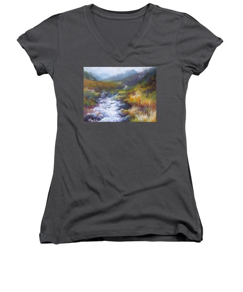 Running Down - Landscape View From Hatcher Pass Women's V-Neck