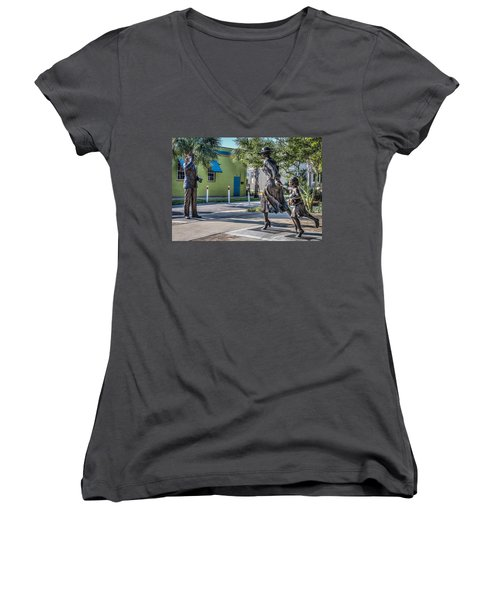 Running For The Train Women's V-Neck T-Shirt
