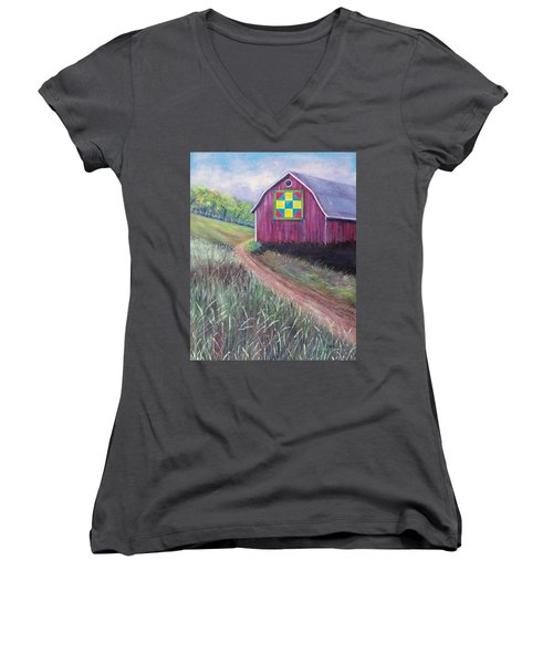 Women's V-Neck T-Shirt (Junior Cut) featuring the painting Rural America's Gift by Susan DeLain