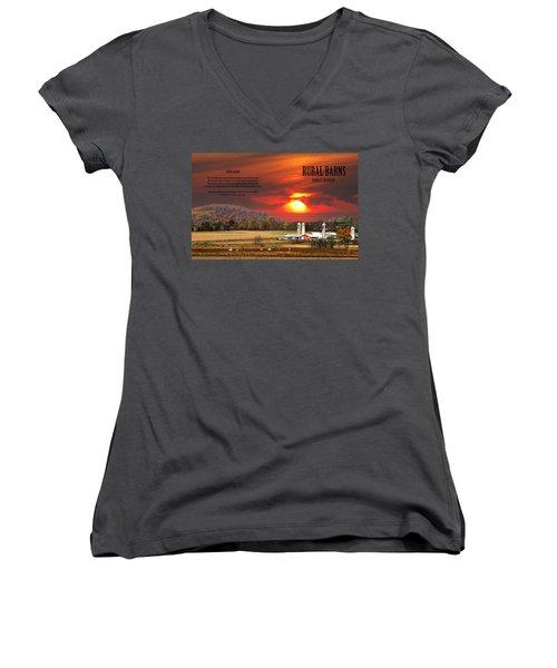 Women's V-Neck T-Shirt (Junior Cut) featuring the photograph Rural Barns  My Book Cover by Randall Branham