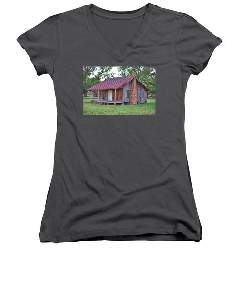 Women's V-Neck T-Shirt (Junior Cut) featuring the photograph Rural Georgia Cabin by Gordon Elwell