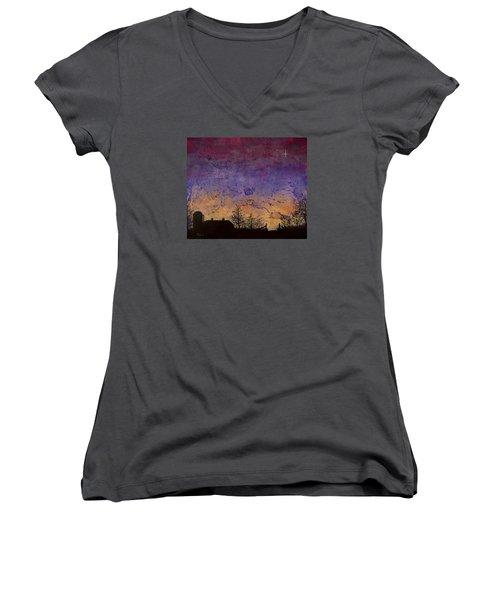Rural Sunset Women's V-Neck T-Shirt (Junior Cut) by Jack Malloch