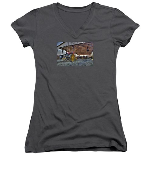 Russell At The Saw Mill Women's V-Neck T-Shirt (Junior Cut) by Shelly Gunderson