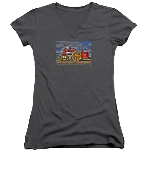Russell Steam Women's V-Neck T-Shirt (Junior Cut) by Shelly Gunderson