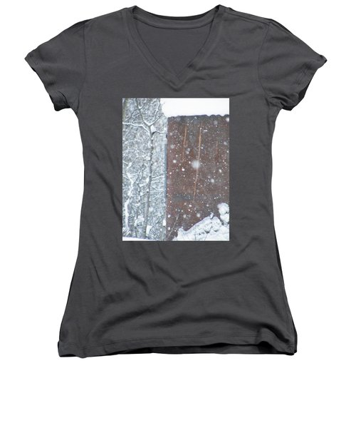 Rust Not Sleeping In The Snow Women's V-Neck T-Shirt (Junior Cut) by Brian Boyle