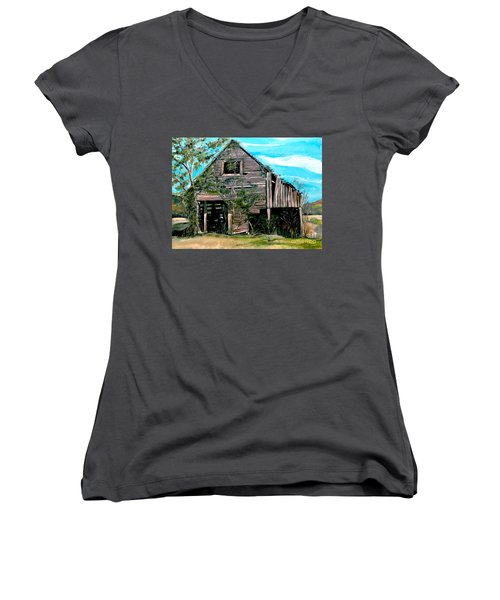 Women's V-Neck T-Shirt (Junior Cut) featuring the painting Rustic Barn - Mooresburg - Tennessee by Jan Dappen