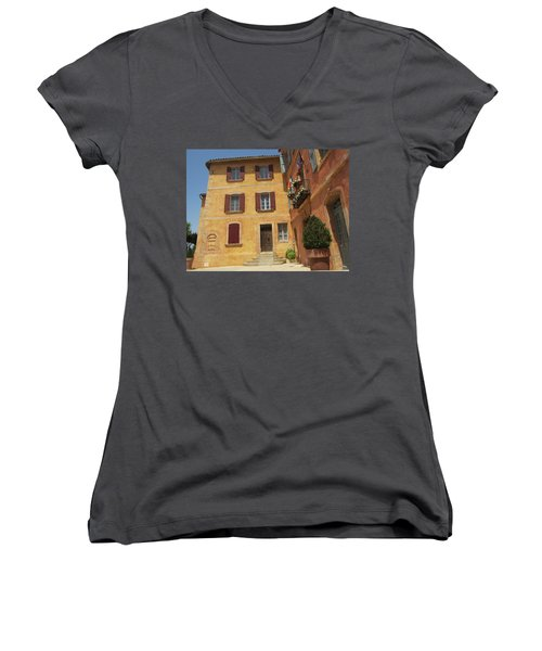 Women's V-Neck T-Shirt (Junior Cut) featuring the photograph Rustic Charm by Pema Hou