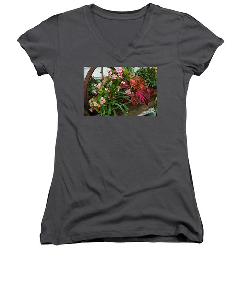 Women's V-Neck T-Shirt (Junior Cut) featuring the photograph Rustic Garden by Christiane Hellner-OBrien