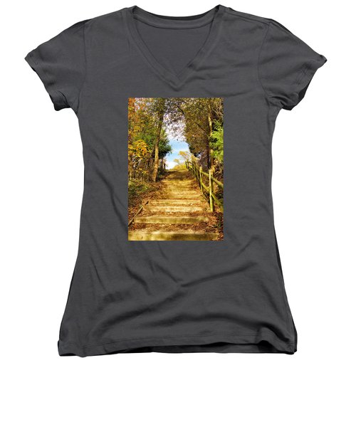 Rustic Stairway Women's V-Neck T-Shirt (Junior Cut) by Jean Goodwin Brooks