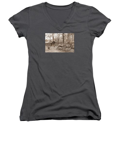Rustic Wagon Women's V-Neck T-Shirt (Junior Cut) by Debbie Green