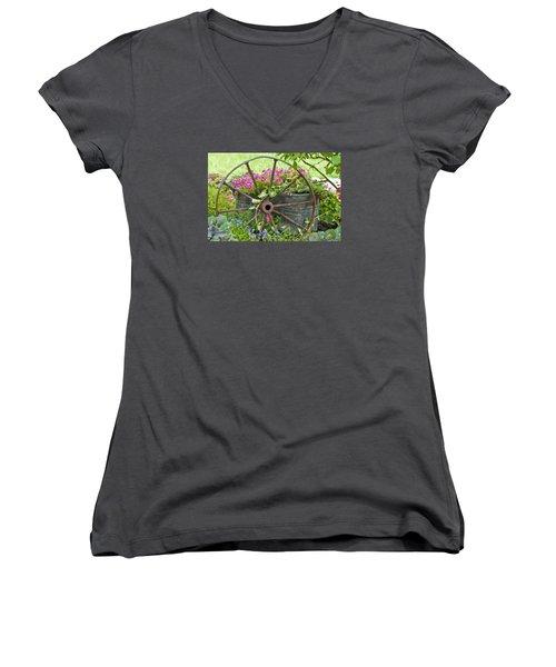 Women's V-Neck T-Shirt (Junior Cut) featuring the photograph Rustic Wheel Digital Artwork by Sandra Foster