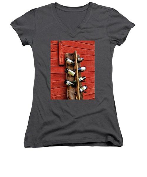 Rustic Wine Rack Women's V-Neck T-Shirt (Junior Cut) by Jean Goodwin Brooks