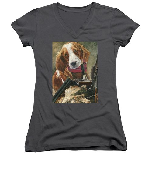 Rusty - A Hunting Dog Women's V-Neck T-Shirt