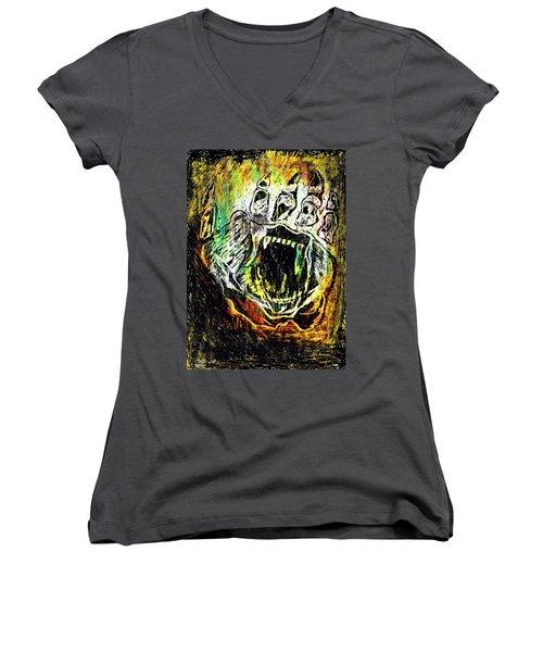 Sacred Paw Impression Women's V-Neck T-Shirt (Junior Cut) by Ayasha Loya