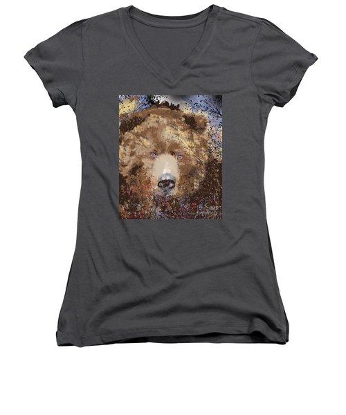 Women's V-Neck T-Shirt (Junior Cut) featuring the digital art Sad Brown Bear by Kim Prowse