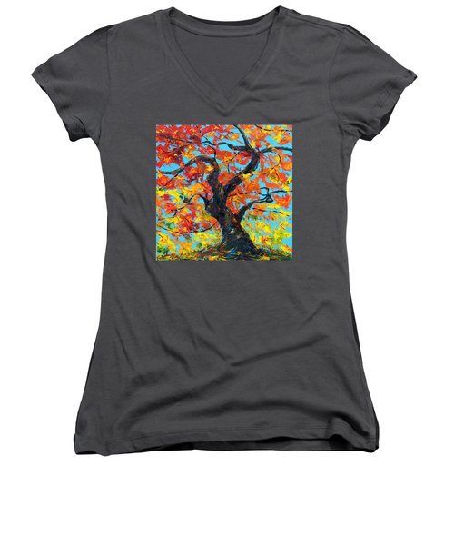 Women's V-Neck T-Shirt (Junior Cut) featuring the painting Safely Abiding by Meaghan Troup