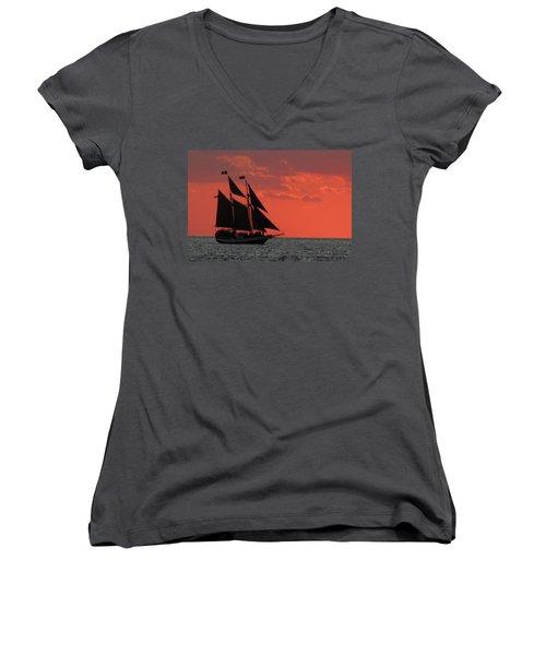 Key West Sunset Sail 5 Women's V-Neck