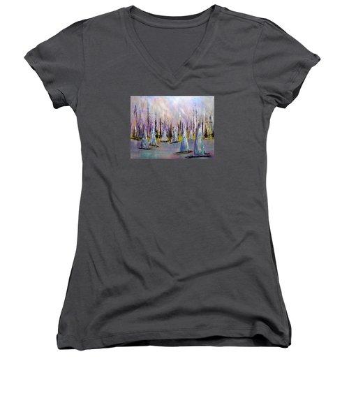 Sail II Women's V-Neck T-Shirt (Junior Cut) by Roberta Rotunda