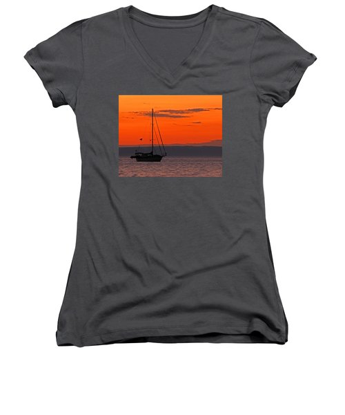 Sailboat At Sunset Women's V-Neck T-Shirt (Junior Cut) by Marcia Socolik