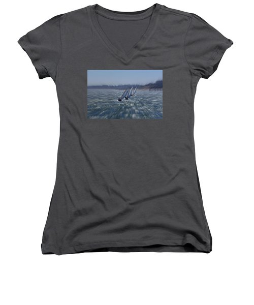 Sailing Boats Racing Women's V-Neck (Athletic Fit)