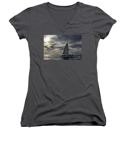 Sailing The Caribbean Women's V-Neck (Athletic Fit)