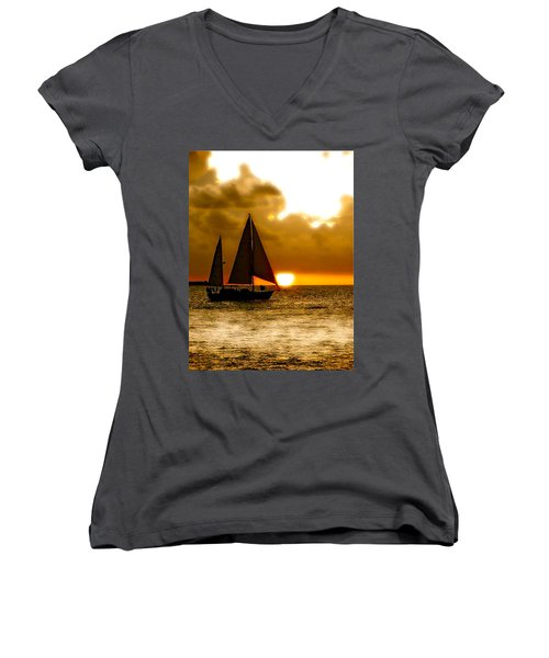 Sailing The Keys Women's V-Neck T-Shirt (Junior Cut) by Iconic Images Art Gallery David Pucciarelli