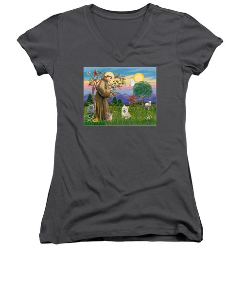 Saint Francis Blesses A Cairn Terrier Women's V-Neck T-Shirt
