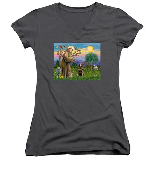 Saint Francis Blesses A Chocolate Labrador Retriever Women's V-Neck (Athletic Fit)