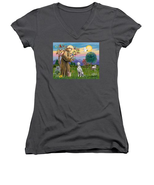 Saint Francis Blesses A Dalmatian Women's V-Neck T-Shirt