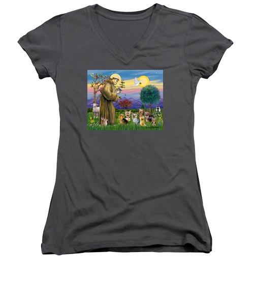 Saint Francis Blesses Seven Yorkies Women's V-Neck T-Shirt