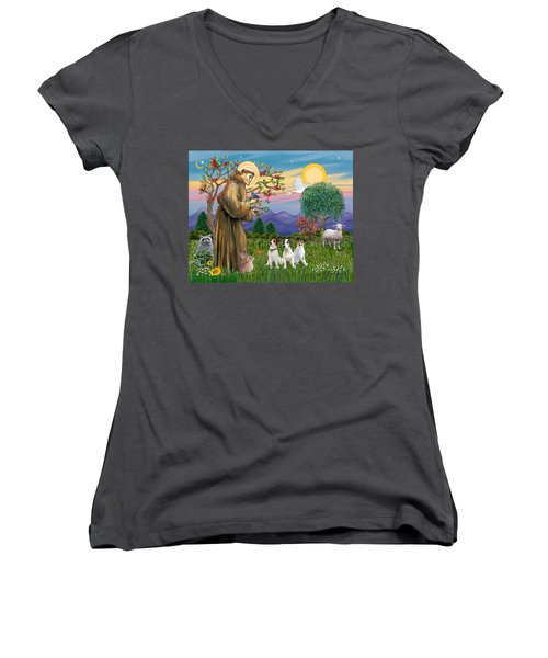 Saint Francis Blesses Three Jack Russell Terriers Women's V-Neck T-Shirt