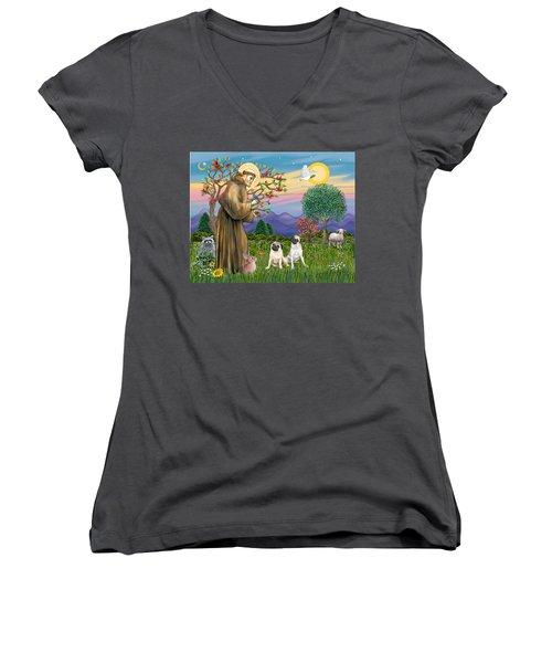 Saint Francis Blesses Two Fawn Pugs Women's V-Neck T-Shirt