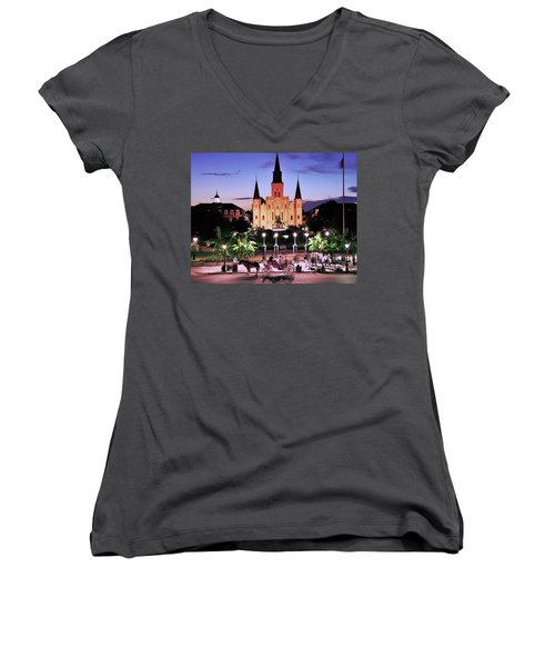 Saint Louis Cathedral New Orleans Women's V-Neck T-Shirt (Junior Cut) by Allen Beatty
