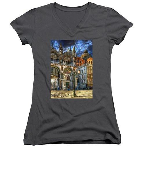 Women's V-Neck T-Shirt (Junior Cut) featuring the photograph Saint Marks Square by Jerry Fornarotto