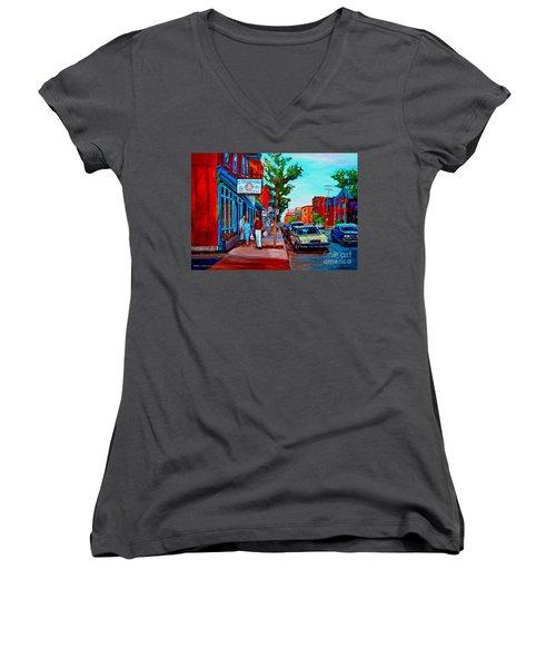 Women's V-Neck T-Shirt (Junior Cut) featuring the painting Saint Viateur Bagel Shop by Carole Spandau