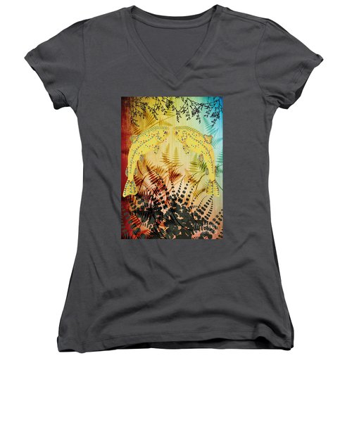 Salmon Love Gold Women's V-Neck T-Shirt (Junior Cut) by Kim Prowse